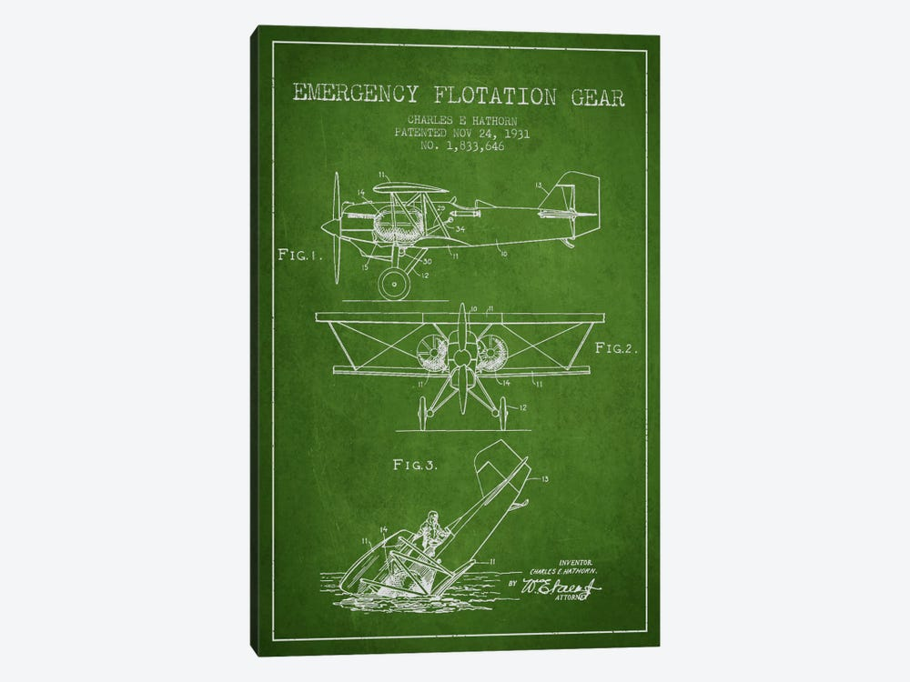 Float Plane Green Patent Blueprint by Aged Pixel 1-piece Art Print