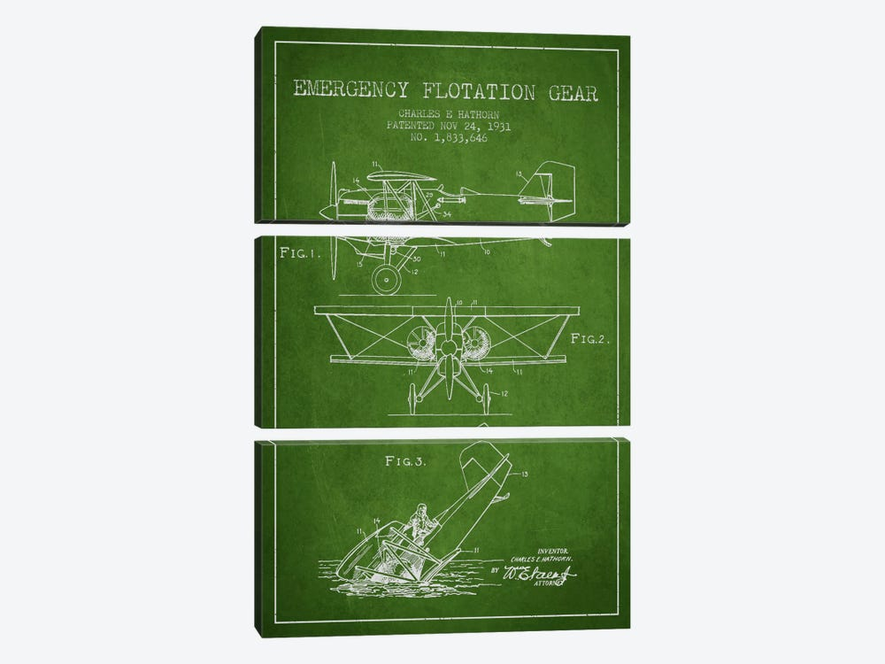 Float Plane Green Patent Blueprint by Aged Pixel 3-piece Canvas Print