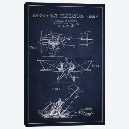 Float Plane Navy Blue Patent Blueprint Canvas Print #ADP2322} by Aged Pixel Canvas Print