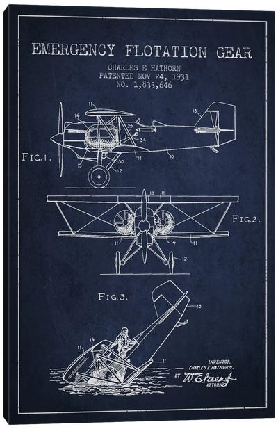 Float Plane Navy Blue Patent Blueprint Canvas Art Print