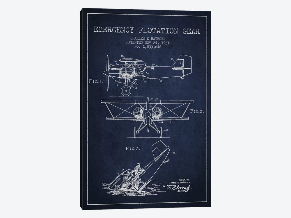 Float Plane Navy Blue Patent Blueprint by Aged Pixel 1-piece Canvas Art