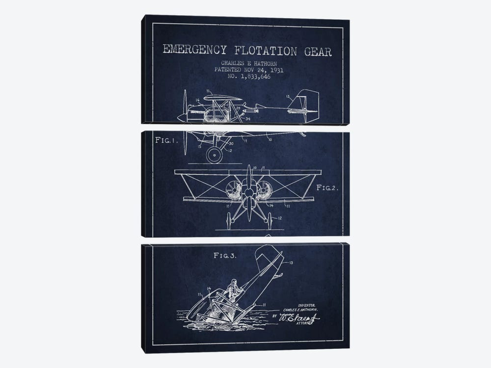 Float Plane Navy Blue Patent Blueprint by Aged Pixel 3-piece Canvas Wall Art