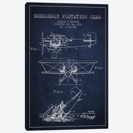 Float Plane Navy Blue Patent Blueprint Canvas Print #ADP2322} by Aged Pixel Canvas Print