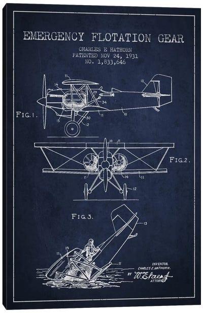 Float Plane Navy Blue Patent Blueprint Canvas Art Print