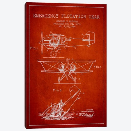Float Plane Red Patent Blueprint Canvas Print #ADP2323} by Aged Pixel Canvas Art Print
