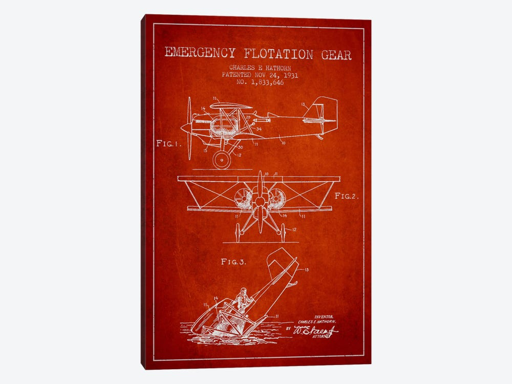 Float Plane Red Patent Blueprint by Aged Pixel 1-piece Art Print