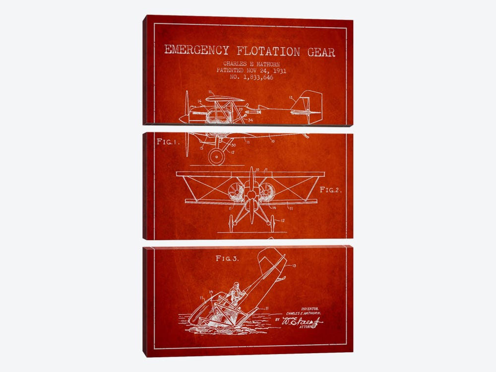 Float Plane Red Patent Blueprint by Aged Pixel 3-piece Canvas Art Print
