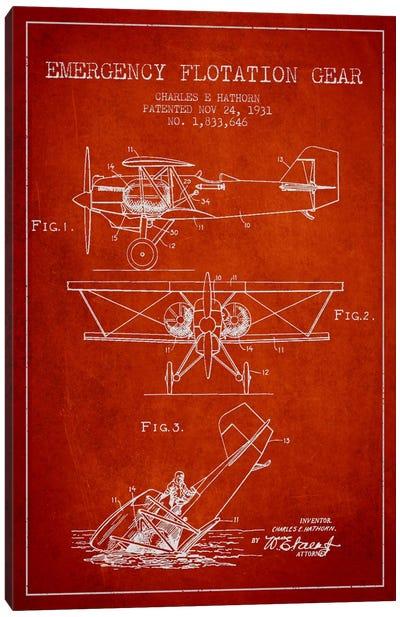 Float Plane Red Patent Blueprint Canvas Art Print