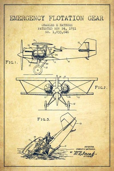 Float plane vintage patent blueprint canvas art p aged pixel canvas malvernweather Choice Image