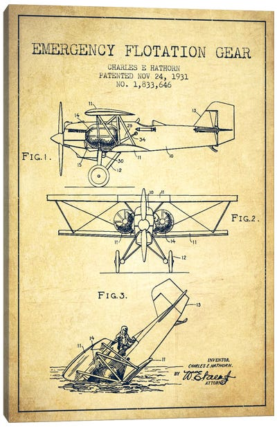 Float Plane Vintage Patent Blueprint Canvas Art Print