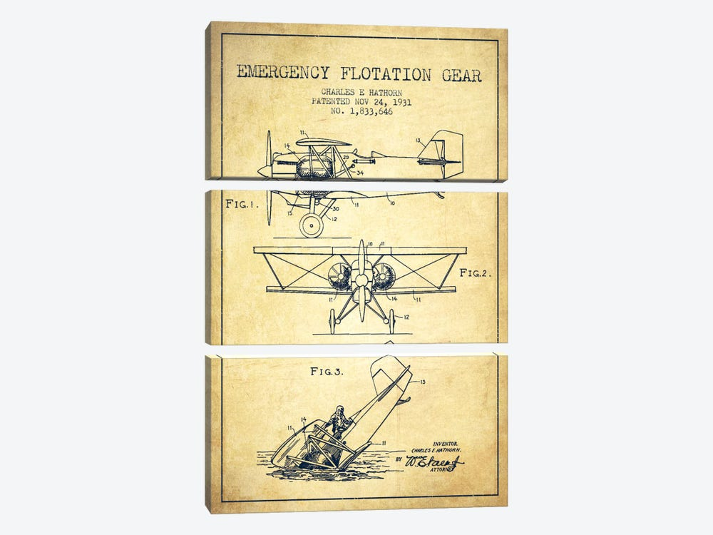 Float Plane Vintage Patent Blueprint by Aged Pixel 3-piece Canvas Art
