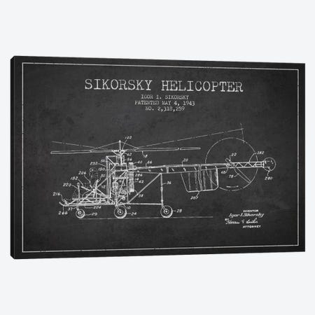 Helicopter Charcoal Patent Blueprint Canvas Print #ADP2325} by Aged Pixel Canvas Wall Art