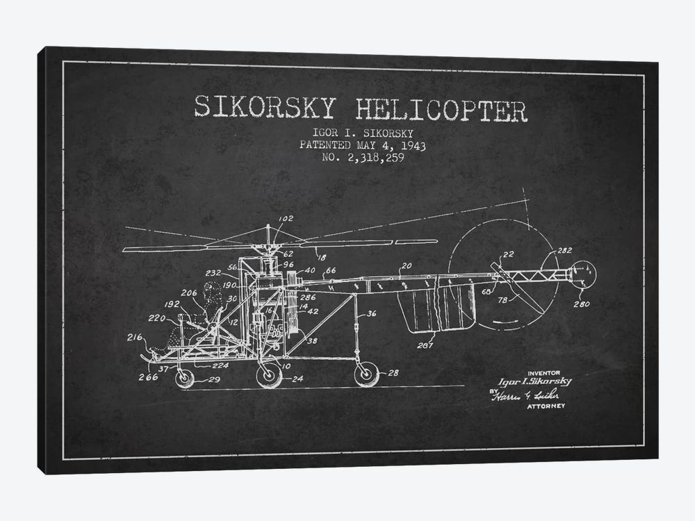 Helicopter Charcoal Patent Blueprint by Aged Pixel 1-piece Art Print