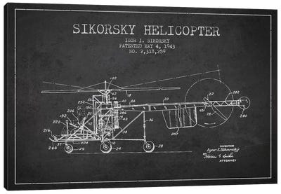 Helicopter Charcoal Patent Blueprint Canvas Art Print