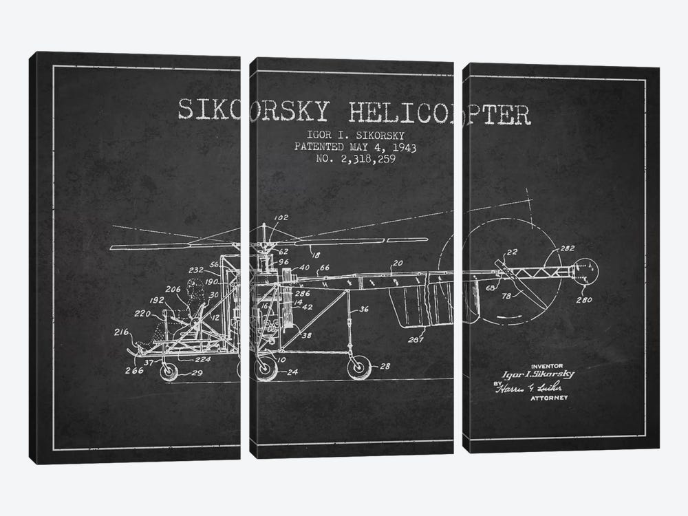Helicopter Charcoal Patent Blueprint by Aged Pixel 3-piece Canvas Art Print