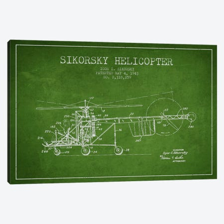 Helicopter Green Patent Blueprint Canvas Print #ADP2326} by Aged Pixel Canvas Art