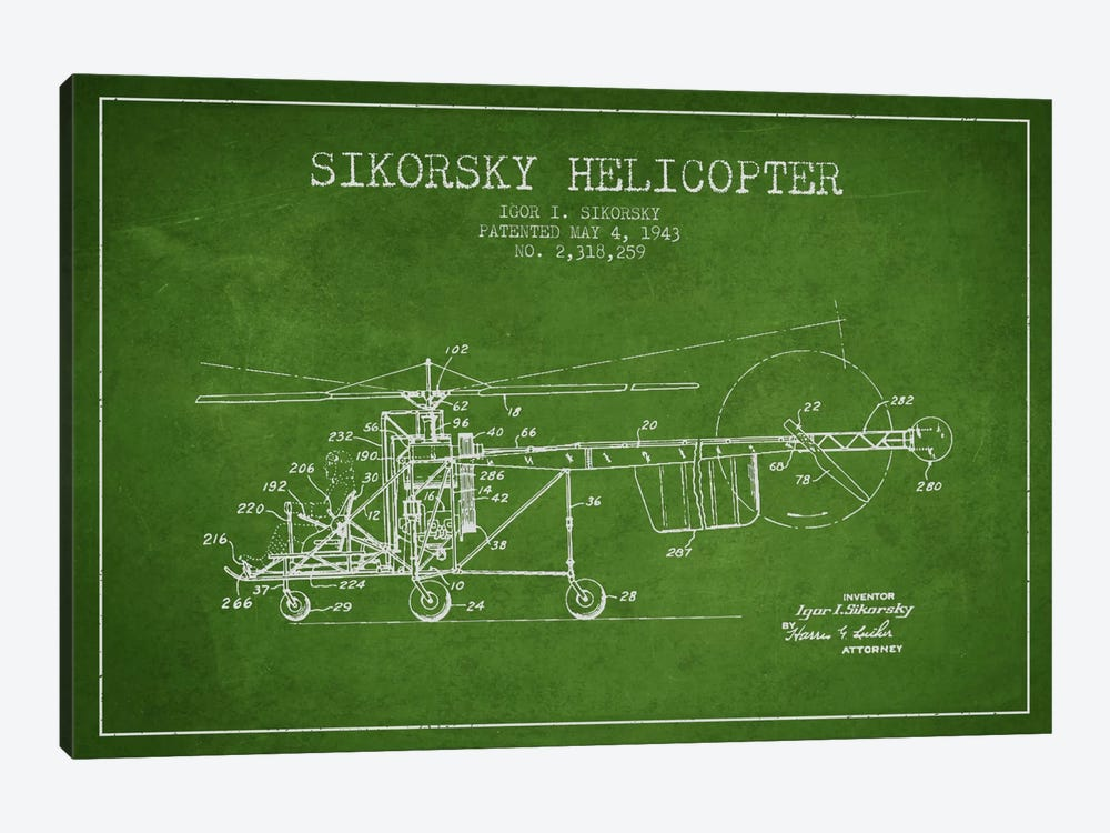 Helicopter Green Patent Blueprint by Aged Pixel 1-piece Canvas Art