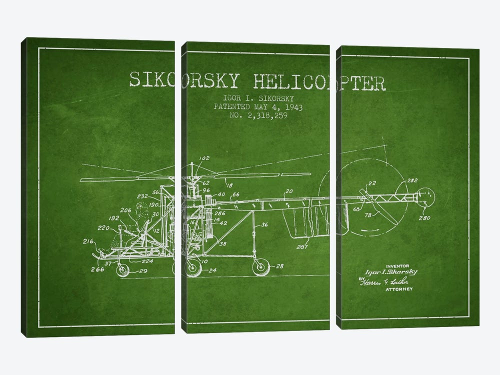 Helicopter Green Patent Blueprint by Aged Pixel 3-piece Canvas Wall Art