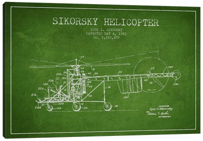 Helicopter Green Patent Blueprint Canvas Art Print