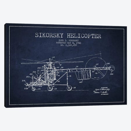Helicopter Navy Blue Patent Blueprint Canvas Print #ADP2327} by Aged Pixel Canvas Art