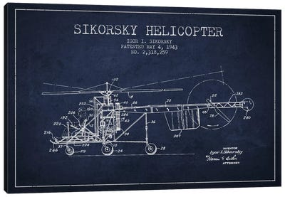 Helicopter Navy Blue Patent Blueprint Canvas Art Print