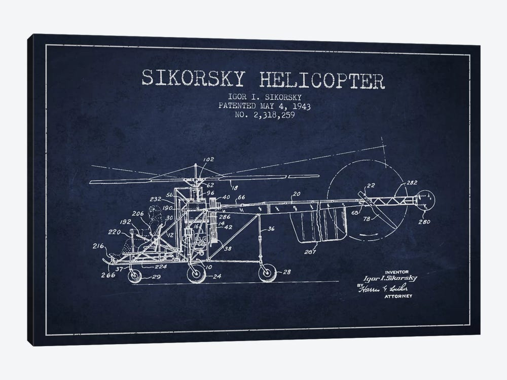 Helicopter Navy Blue Patent Blueprint 1-piece Canvas Art Print