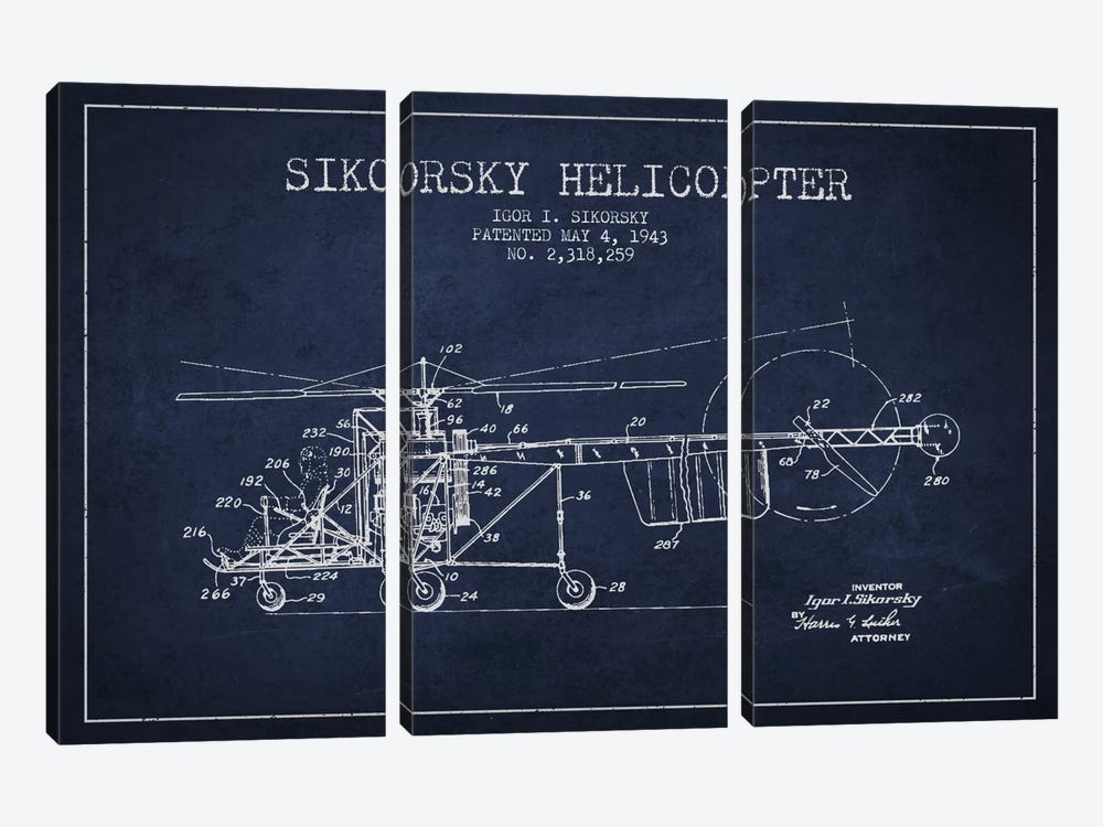Helicopter Navy Blue Patent Blueprint 3-piece Art Print
