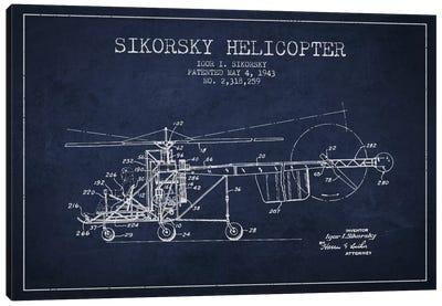 Helicopter Navy Blue Patent Blueprint Canvas Art Print