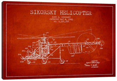 Helicopter Red Patent Blueprint Canvas Print #ADP2328