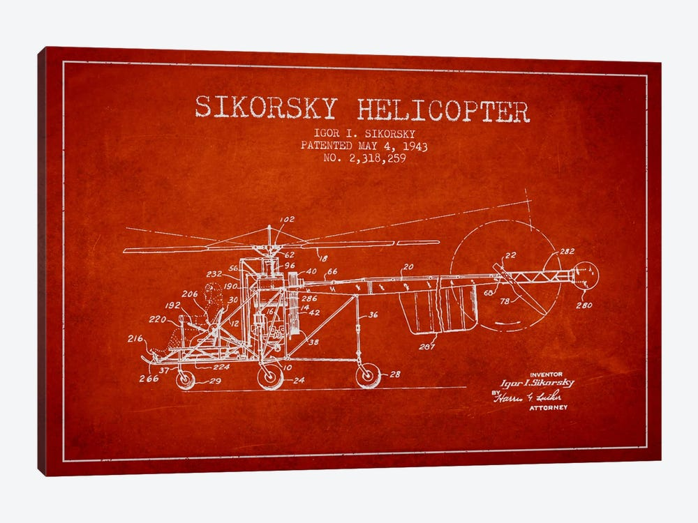 Helicopter Red Patent Blueprint by Aged Pixel 1-piece Canvas Art