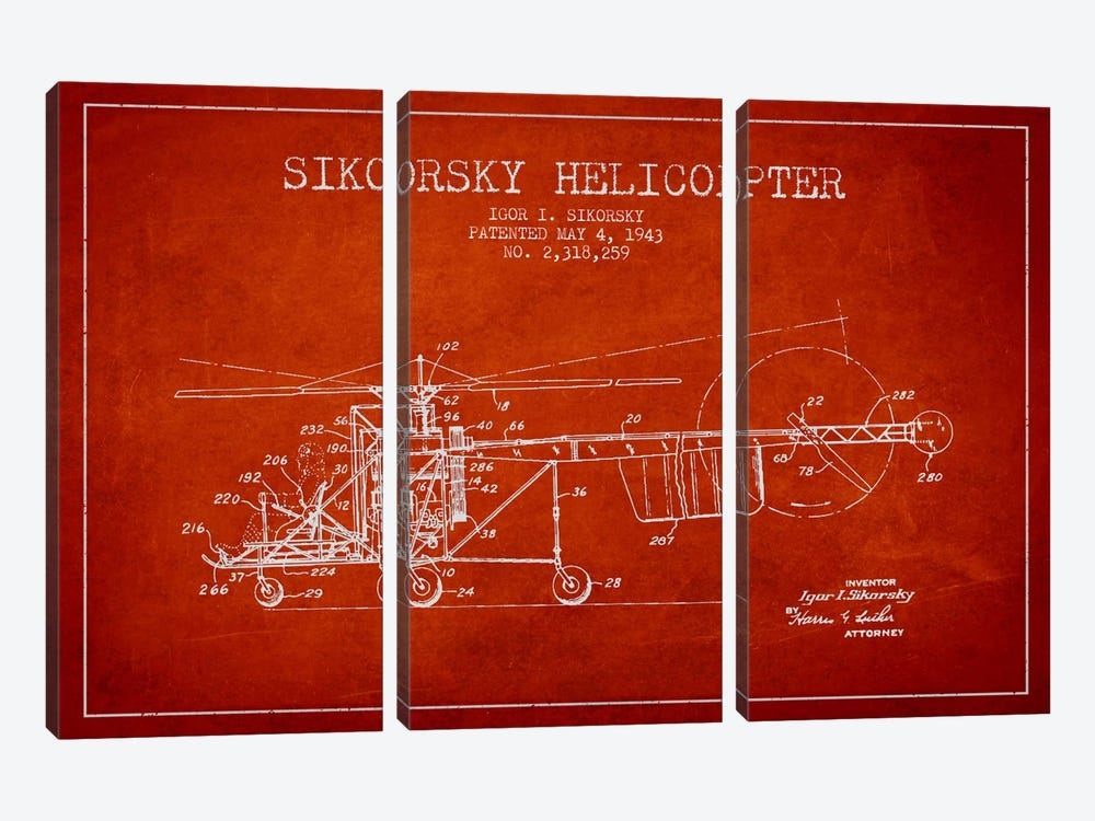 Helicopter Red Patent Blueprint by Aged Pixel 3-piece Canvas Wall Art