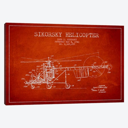 Helicopter Red Patent Blueprint Canvas Print #ADP2328} by Aged Pixel Canvas Art Print