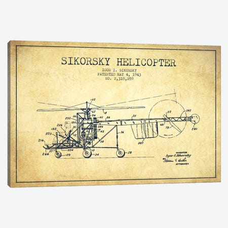 Helicopter Vintage Patent Blueprint Canvas Print #ADP2329} by Aged Pixel Art Print