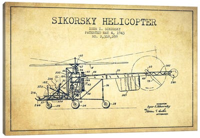Helicopter Vintage Patent Blueprint Canvas Print #ADP2329
