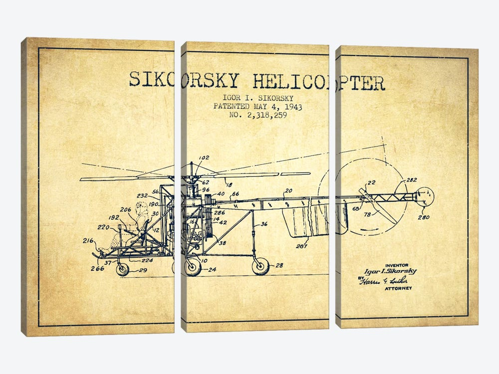 Helicopter Vintage Patent Blueprint by Aged Pixel 3-piece Canvas Art Print