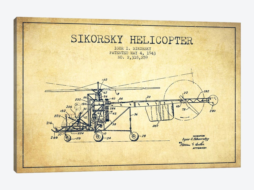 Helicopter Vintage Patent Blueprint by Aged Pixel 1-piece Canvas Print