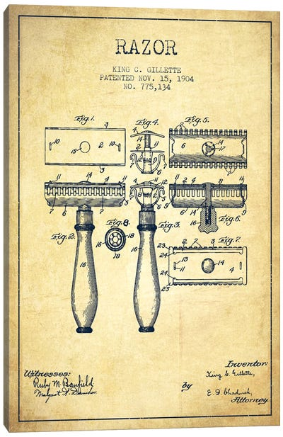 Bathroom blueprints canvas artwork icanvas razor vintage patent blueprint canvas art print malvernweather