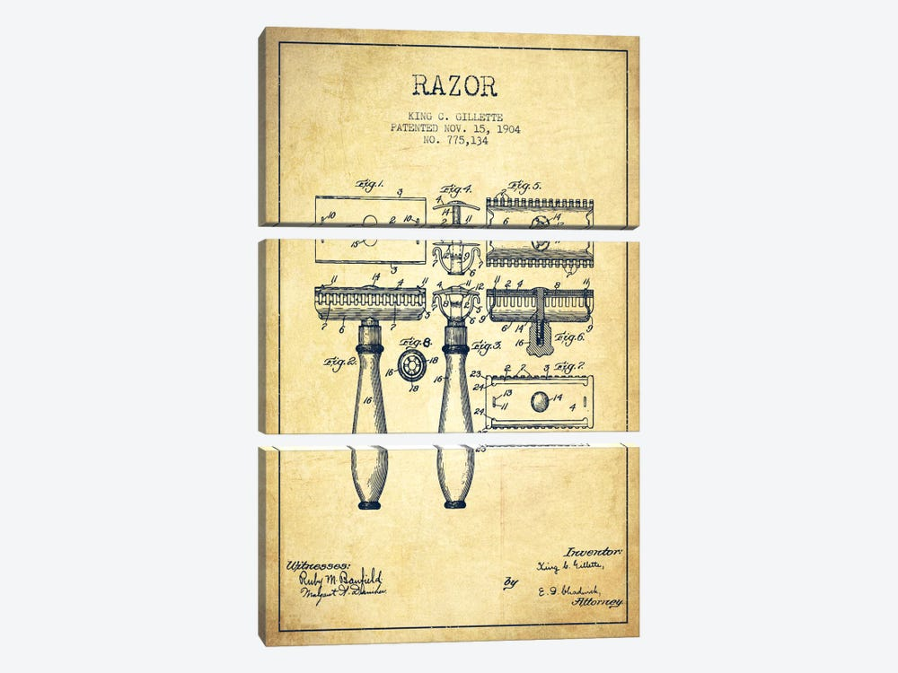 Razor Vintage Patent Blueprint by Aged Pixel 3-piece Canvas Art Print