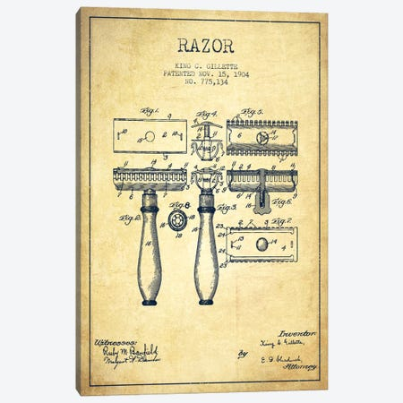Razor Vintage Patent Blueprint Canvas Print #ADP232} by Aged Pixel Canvas Art