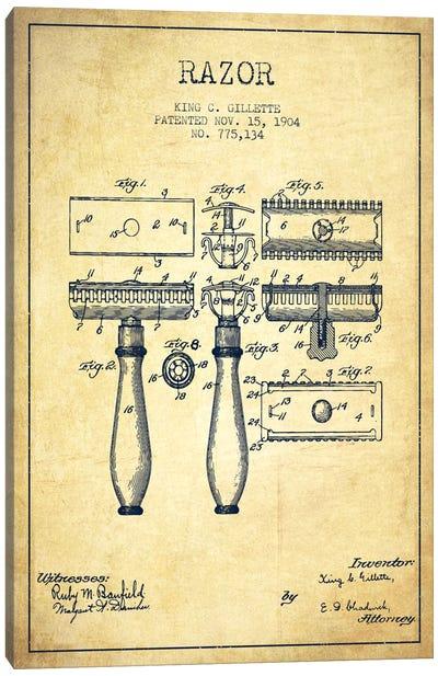 Razor Vintage Patent Blueprint Canvas Art Print