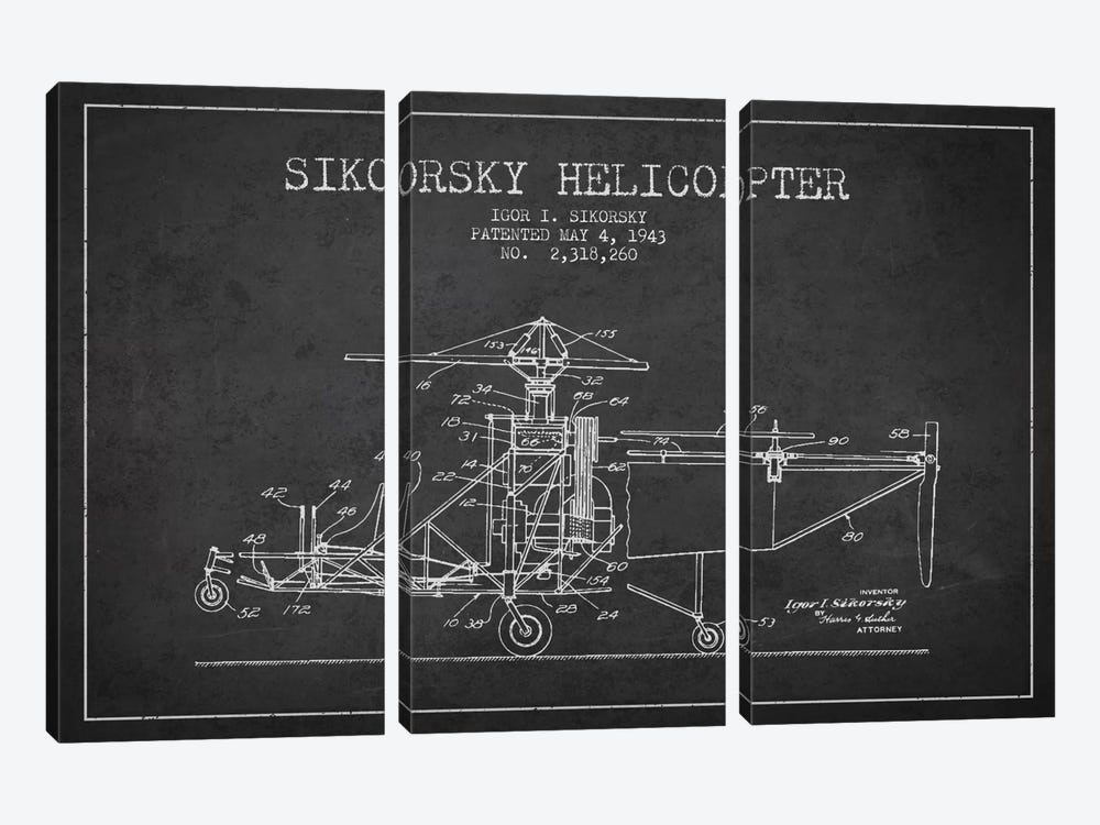 Helicopter Charcoal Patent Blueprint by Aged Pixel 3-piece Art Print