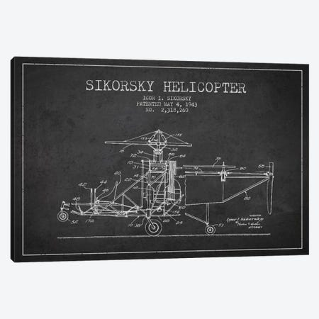 Helicopter Charcoal Patent Blueprint Canvas Print #ADP2330} by Aged Pixel Canvas Wall Art