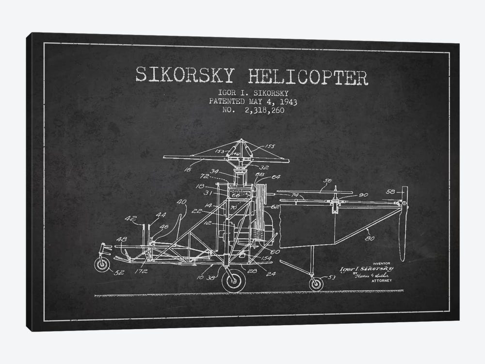 Helicopter Charcoal Patent Blueprint by Aged Pixel 1-piece Canvas Art Print