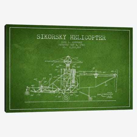 Helicopter Green Patent Blueprint Canvas Print #ADP2331} by Aged Pixel Canvas Artwork