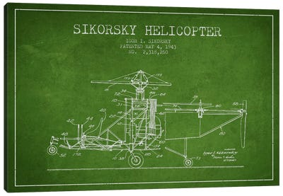 Helicopter Green Patent Blueprint Canvas Print #ADP2331