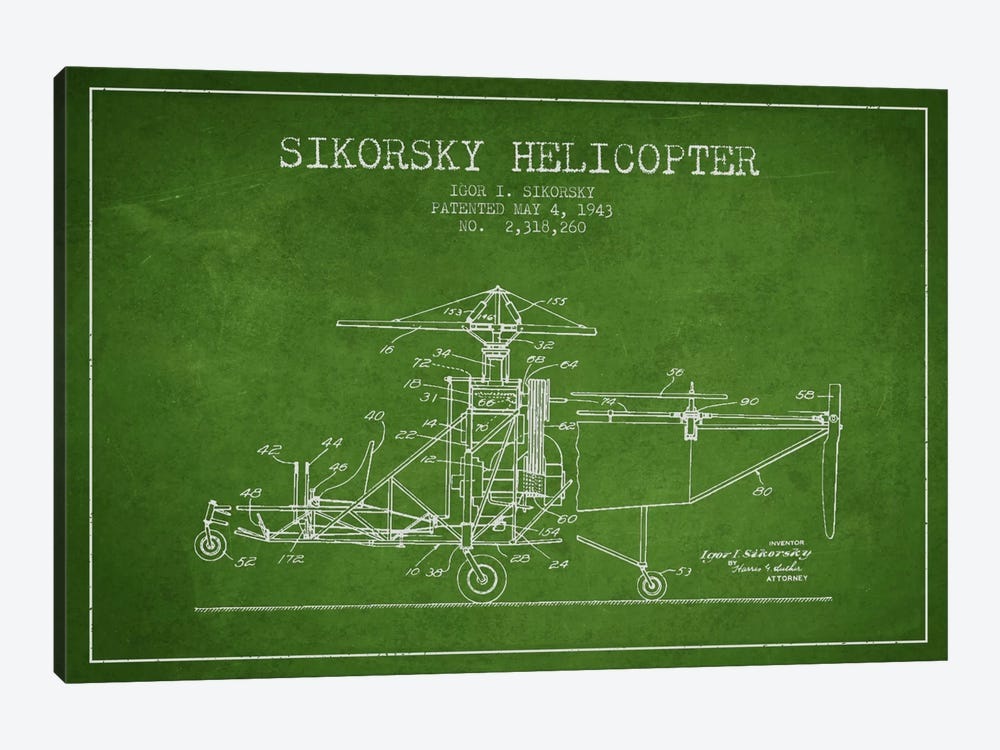 Helicopter Green Patent Blueprint by Aged Pixel 1-piece Canvas Artwork