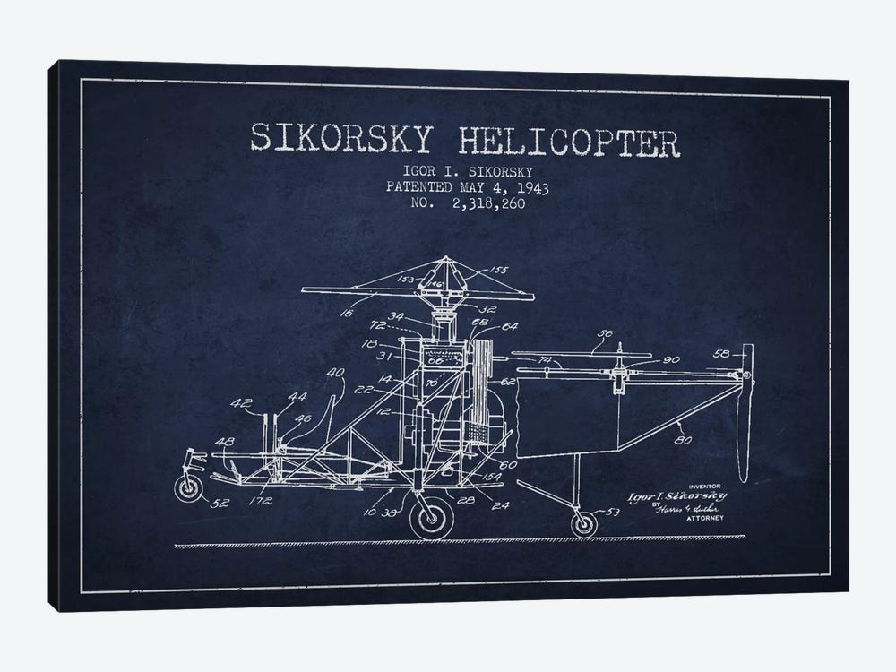 Helicopter Navy Blue Patent Blueprint by Aged Pixel 1-piece Art Print