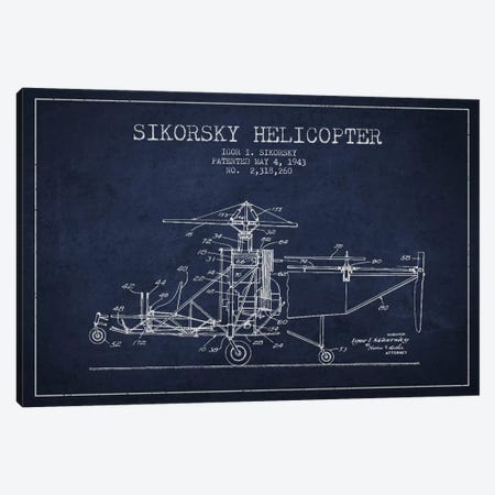 Helicopter Navy Blue Patent Blueprint Canvas Print #ADP2332} by Aged Pixel Canvas Art