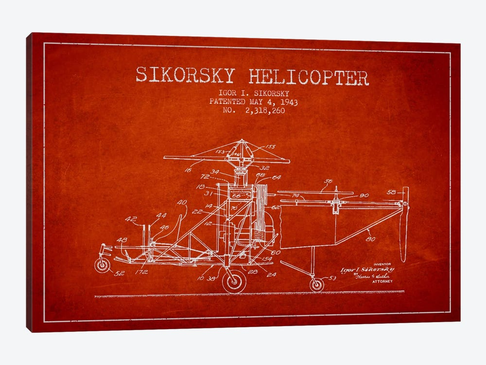 Helicopter Red Patent Blueprint by Aged Pixel 1-piece Canvas Artwork