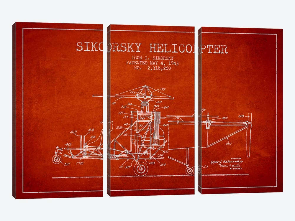 Helicopter Red Patent Blueprint by Aged Pixel 3-piece Canvas Art